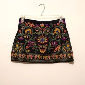 Zara Embroidered Mini Skirt
